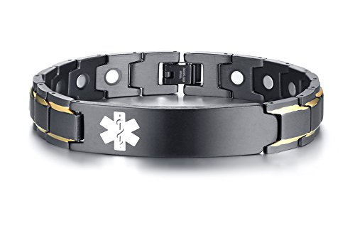 - XUANPAI Free Custom Engraved Stainless Steel Magnet Therapy Medical Alert ID Bracelet for Men,Adjustable