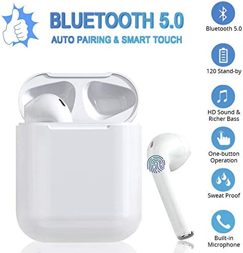 True Wireless Bluetooth Headphones,in-Ear 5.0 Wireless Earbuds Stereo Bluetooth Headset with Microphone Anti-Sweat Sports Earbuds,Earphones Compatible with Apple Android iPhone