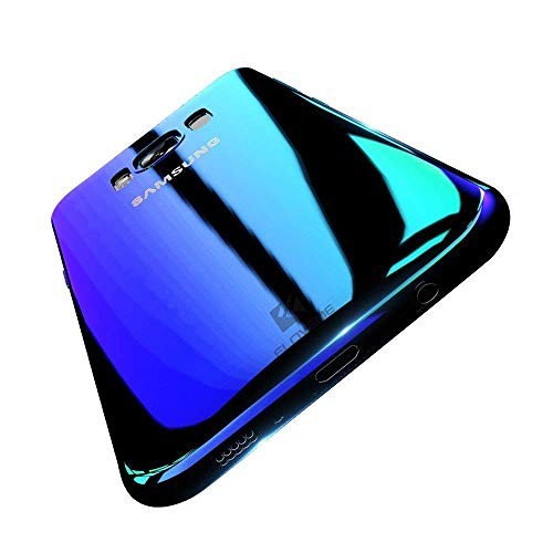 Wireless Charger Samsung Galaxy Note 8 Case, FLOVEME Slim Fit Gradual Colorful Gradient Change Color Ultra Thin Lightweight Electroplating Bumper Anti-Drop Clear Hard Back Cover, Transparent Blue