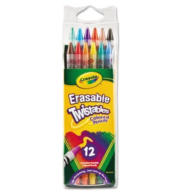 (Crayola Products - Crayola - Twistables Erasable Colored Pencils, 12 Assorted Colors/Pack - Sold As 1 Pack - Erasable. - Built-in erasers. - Twistable with 12 colors. - Clear plastic barrels. -)