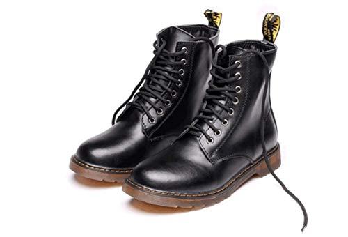 Invierno Grande Para Boots Shiney Black Tamaño Botines E Hombre Cuero Martin Otoño De Extra wxwqTCU7
