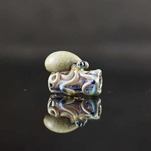 Octopus Dread Bead in Clear & Mega Mai Tai, #610 (Handmade Dread Beads)