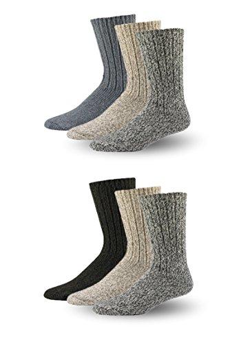 Wool Socks Mens and Women, Warm Crew Cushion Hiking Socks (6 Pack) (Large 10-13, Assorted) ()