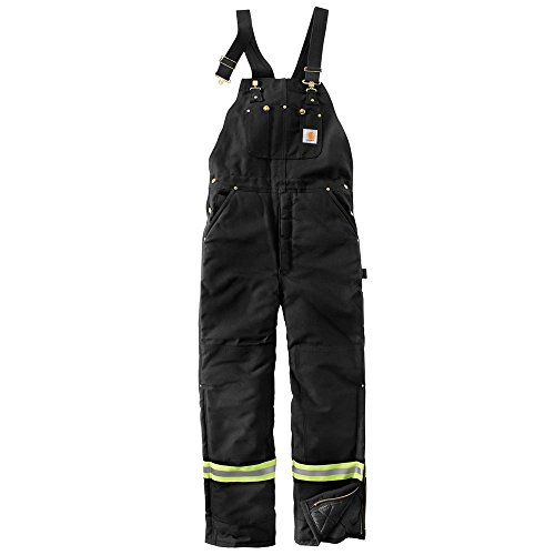 Carhartt Men's High Visibility Striped Duck Bib Lined Overall, Black, 36x32 - Striped Bib Overalls