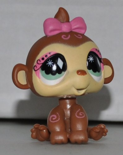 Monkey #600 (Brown, Green Eyes, Pink Eyeshadow, Pink Swirls on body) - Littlest Pet Shop (Retired) Collector Toy - LPS Collectible Replacement Single Figure - Loose (OOP Out of Package & Print) (Big Eyes Monkey)