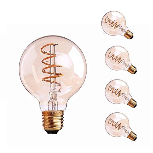 Century 3 Light Pendant - Century Light - 3W Flexible LED Filament light Bulb, 2200K Ultra Warm White 150LM, E26 Medium Base Light Bulb, G80 LED Globe Shape, Amber Glass, 25Watt Equivalent, Dimmable, UL-Listed,(4PACK)