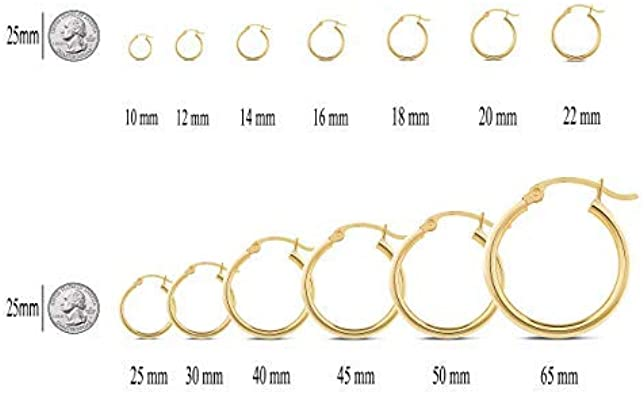 Jewelryweb Solid 14k Gold 1mm Classic Tube Hoop Earrings yellow or white 10mm-25mm