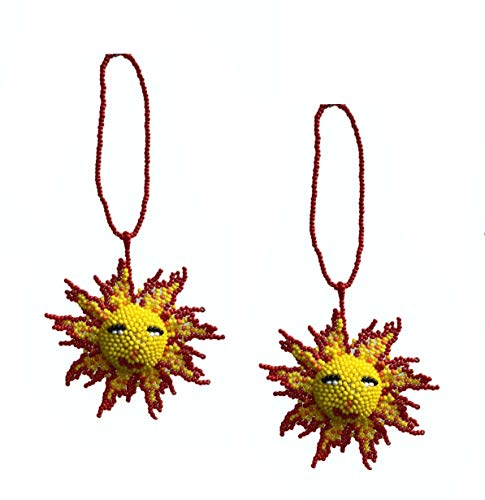 (Mayan Arts Sun, Beaded Ornamental Figurine, Color Beaded Sunburst, Smiling Sun, Christmas Tree Ornaments, Holiday Decoration, Handmade in Guatemala 2.75 Inches (2))