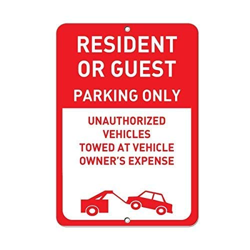 (Lilyanaen New Metal Sign Aluminum Sign Resident Guest Parking Unauthorized Vehicles Towed for Outdoor & Indoor 12