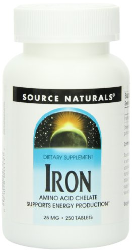 (Source Naturals Iron Chelate 25mg, 250 Tablets)