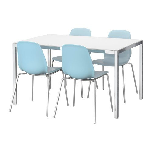 Ikea Table and 4 chairs, glass white, light blue 2204.11217.142