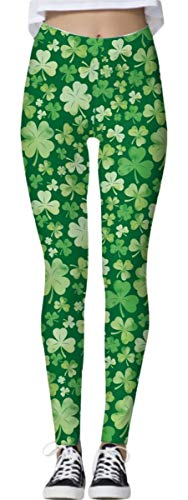 (St Patricks Day Women Clover Stretchy Leggings Irish Graphic Printed Skinny Pants Green)