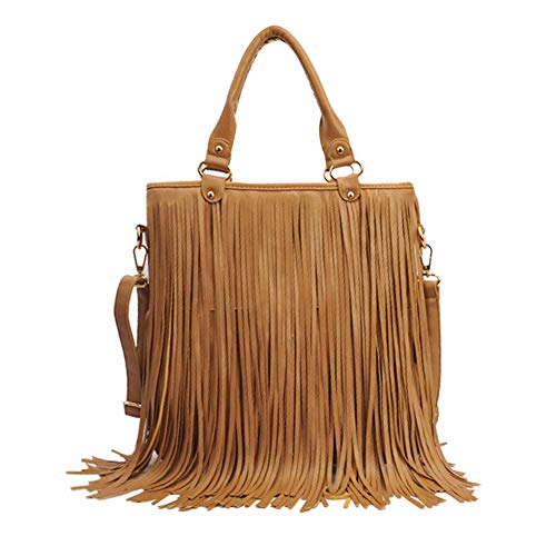 RARITY-US Women Fringe Tassel Shoulder Bag Large Leather Tote Handbag Hobo Crossbody ()