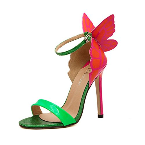 Hee Grand Damen Sommer schleife Schmetterling Schuhe Sandalen Pumps Abendschuhe CN 35 Gruen