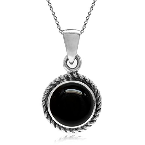 Silvershake Created Black Onyx 925 Sterling Silver Rope Solitaire Pendant with 18 Inches Chain -