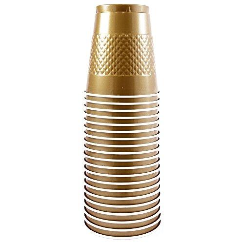 JAM Paper Plastic Cups - 12 oz - Gold - 20/pack