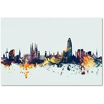 945398ae3 Amazon.com  Trademark Fine Art Barcelona Spain Skyline B W by ...