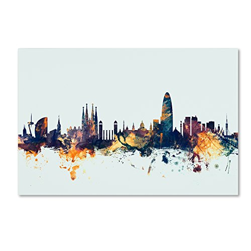 Trademark Fine Art Barcelona Spain Skyline Blue by Michael Tompsett, 16x24-Inch Canvas Wall Art by Trademark Fine Art
