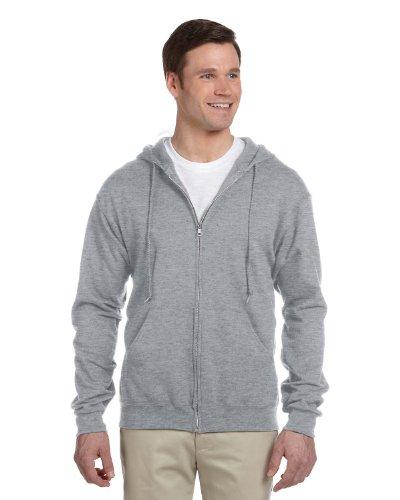 Jerzees Nublend Men's Full-Zip Hooded Sweatshirt, Athletic Heather, - Heavyweight Fleece Mens Jerzees