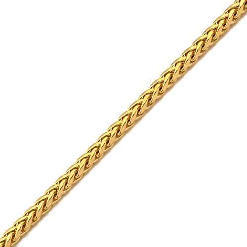 Mr. Bling 10K Yellow Gold Wheat, Palm Chain Necklace with Lobster Lock (2.5mm to 5mm)