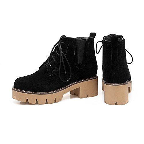 AgooLar Women's Microfibre Lace-up Round-Toe Kitten-Heels Solid Boots Black 8YRQG