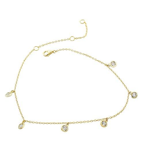 925 Sterling Silver Yellow Gold-Tone Bezel-Set Clear CZ Anklet Bracelet, 10.5