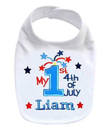 My First 4th of July Handmade PERSONALIZED Embroidered Patriotic Bib for Baby BOYS (White Bib) ()