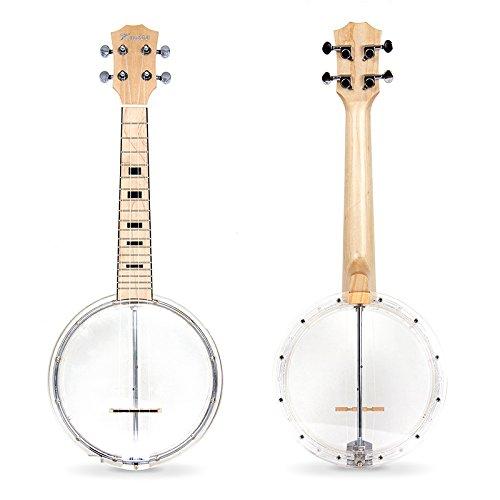 Banjo Ukulele 4 String Concert Ukelele Maple With Transparent Plastic Body From Kmise