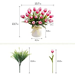 YILIYAJIA Artificial Tulips Flowers with Ceramics Vase Fake Tulip Bridal Bouquets Real Touch Flowers Arrangement for Home Table Wedding Office Decoration 2
