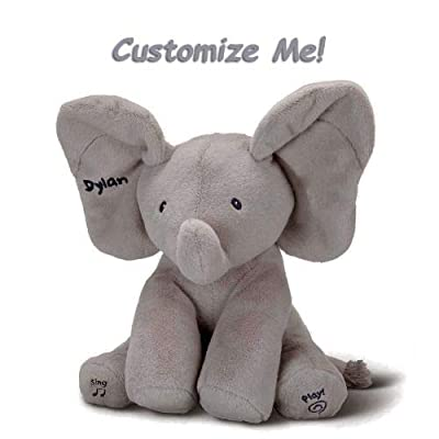 GUND Flappy Custom Elephant Plush- Personalized Toy, Adorable Singing Animated Toy, Soft Huggable Stuffed Animal Flappy Ears, Safe Children, Interactive Sound, Appropriate All