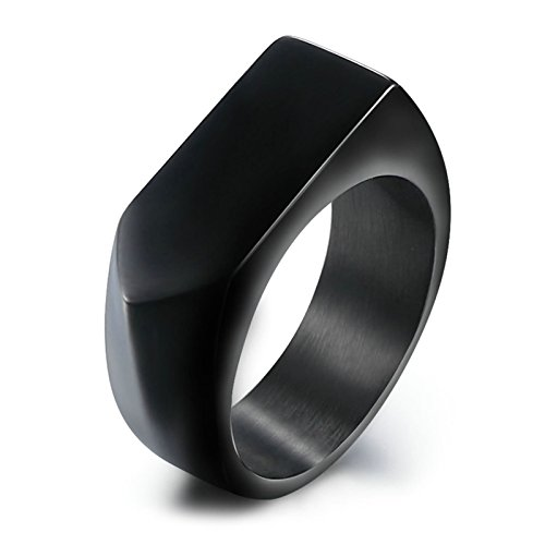 Adisaer Men's Stainless Steel Ring Band High Polished 9MM Black Vantage Ring with Gift Bag- 9
