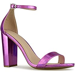 Premier Standard - Women's Strappy Chunky Block High Heel - Formal, Wedding, Party Simple Classic Pump, TPS Heels-10Sirrom Fuchsia H Size 7