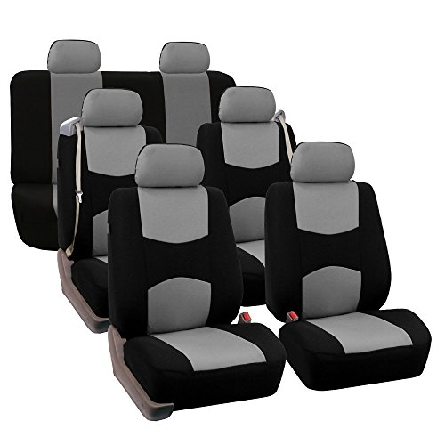 - FH GROUP FH-FB351217 Three Row Full Set - All Purpose Flat Cloth Built-In Seat Belt Car Seat Cover Gray / Black - Fit Most Truck, Suv, or Van