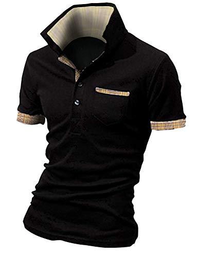 ポロシャツ メンズ polo シャツ 半袖 チェック スキッパー スポーツ ゴルフ ゴルフウェア カジュアル ビジネス シンプル 通気性 吸汗速乾 春 夏