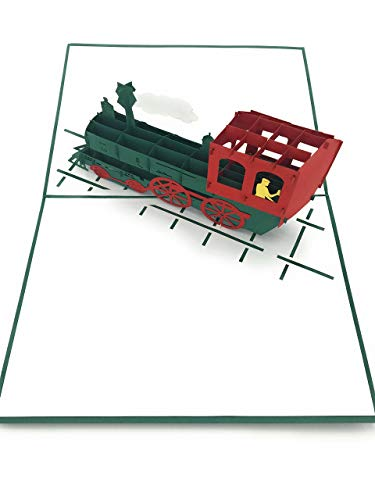 ty supplies - The steam train lovers 3D Pop Up Card - handmade. Complement for any gift and for birthday, anniversary, fathers day, farewell, get better soon, thank you ()