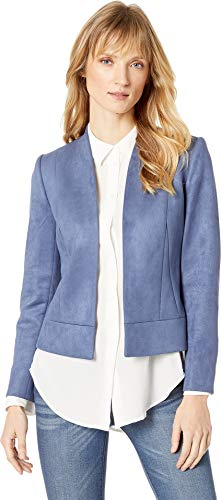 (Tahari by ASL Women's Faux Suede Jacket with Seam Detail Blue Frost 16)