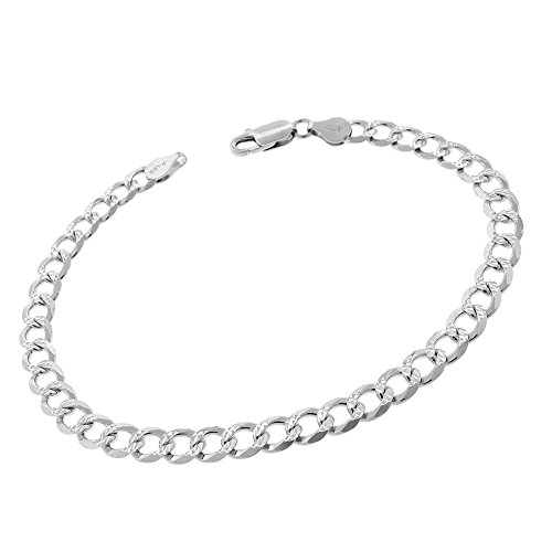 Sterling Silver Italian 6mm Cuban Curb Link Diamond-Cut ITProLux Solid 925 Bracelet Chain 8.75