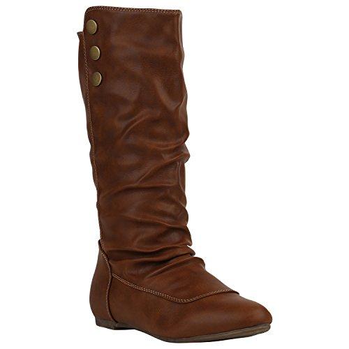 Bequeme Damen Schlupfstiefel Warm Gefütterte Stiefel Leder-Optik Boots Flache Schuhe Cowboystiefel Booties Damenschuhe Flandell Hellbraun Amares Nieten