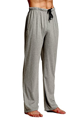 CYZ Comfortable Jersey Cotton Knit Pajama Lounge Sleep Pants -Charcoal-L