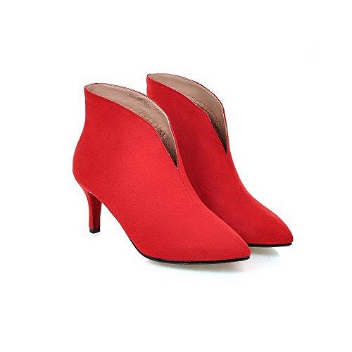 AllhqFashion Damen Anti-Slip Boden Hoher Absatz Spitz Zehe Rein Ziehen auf Stiefel Rot