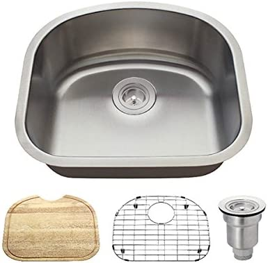 2118 18 Gauge Stainless Steel Kitchen Ensemble Bundle – 4 Items Sink, Basket Strainer, Sink Grid, and Cutting Board