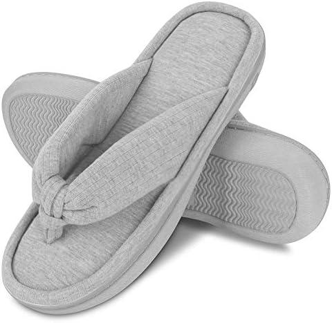 DL Women's Memory Foam Flip Flop Slippers with Cozy Short