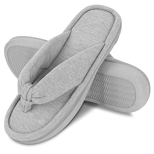 Dena Lives Women's Memory Foam Slippers with Cozy Short Plush Lining,Spa Thong Sandals Mules, Ladies' House Shoes with Indoor Outdoor Anti-Skid Hard Rubber Sole (Ladies House)