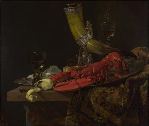 'Willem Kalf,Still Life With The Drinking-Horn Of The Saint Sebastian Archers' Guild, Lobster And Glasses, About 1653′ Oil Painting, 24×28 Inch / 61×7…
