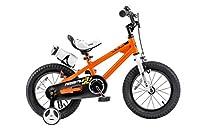 Royalbaby RB14B-6O BMX Freestyle Kids Bike, Boy's Bikes and Girl's Bikes with training wheels, Gifts for children, 14 inch wheels, Orange