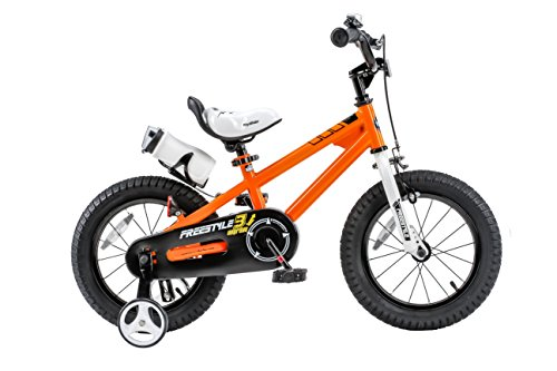 Royalbaby Freestyle Kid's Bike, 14 inch with Training Wheels, Orange, Gift for Boys and Girls