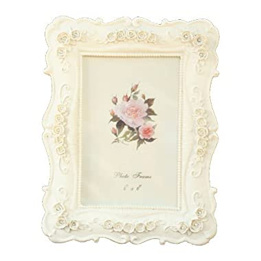 BEYLEG ® Baroque White Decorative Resin Photo Picture Frame for 4x6 inch Photo