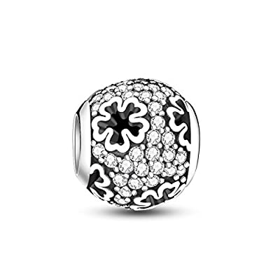 Glamulet 925 Sterling Silver Flower Bead Round Shaped Openwork Charms with Zirconia Fit Bracelet by Glamulet