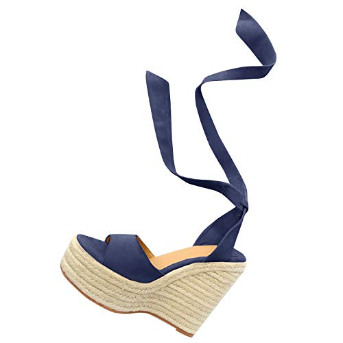 Fashare Womens Open Toe Tie Lace Up Espadrille Platform Wedges Sandals Ankle Strap Slingback Dress Shoes Navy