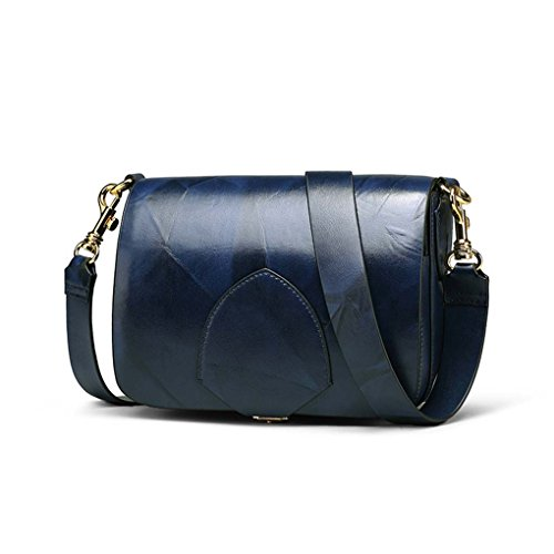 Borsa Messenger Buckle Bottom blu spalla Women a Tote singola Retro Borsa scuro Flapover Leather Beaums a tracolla Vintage PUwxvqqCp